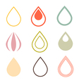 Water Drops Icons Set in Retro Style vector image