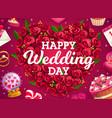 wedding wreath cake and love heart flowers vector image