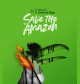 world animal day amazon fire paper cut toucan bird vector image vector image