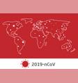 world map with coronavirus signs vector image