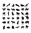 silhouette set of animals vector image