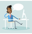 African american manager sitting and talking phone vector image vector image