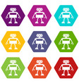 android robot icon set color hexahedron vector image vector image