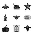 autumn entertainment icons set simple style vector image vector image