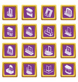 balcony window forms icons set purple square vector image