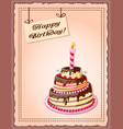 birthday card with cake tier candle cherry and vector image vector image