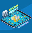 bitcoin mining isometric composition vector image vector image