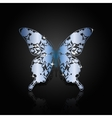 Blue steel abstract butterfly on black background vector image vector image