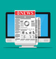 business news on screen computer monitor vector image