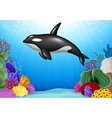 Cartoon Killer whale with Coral Reef Underwater vector image vector image