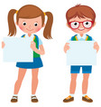 cartoon of two student girl and boy vector image