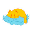 cat sleeps on cloud soft fluffy pet and cloud vector image