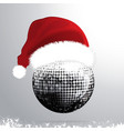 christmas 3d disco ball with santa hat vector image
