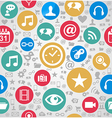 Colorful social media icons seamless pattern vector image