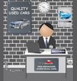 comical car showroom vector image vector image