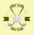 crossed golf club and ball sport banner vector image vector image