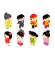 cute isometric chinese children characters new vector image