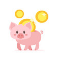 cute pink piggy bank vector image vector image