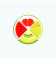 fruit and berry organic food and juice round logo vector image vector image