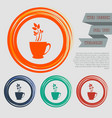 green tea icon on red blue orange buttons vector image vector image