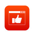 hand with thumb up in browser icon digital red vector image vector image