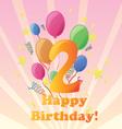 happy birthday two years vector image vector image