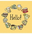 Hello Card with doodle tea cups vector image vector image