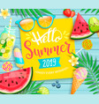 hello summer 2019 yellow card or banner vector image