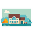 house with garage and car vector image vector image
