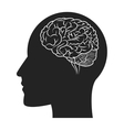 human brain within head silhouette icon vector image vector image