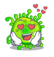 in love cartoon microbes on the humans hand vector image