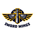 logo sword wings steel arms emblem on the vector image vector image
