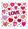 love and romance set hearts doodle vector image