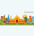 manama skyline with color buildings and blue sky vector image vector image