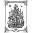 medieval castle or town with towers vector image