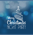 merry christmas night party lettering vector image