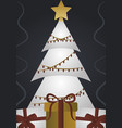 merry christmas white tree with lights star vector image vector image