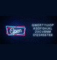 neon open hand drawn sign in geometric shapes vector image vector image