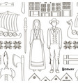 norway icon set pattern vector image vector image