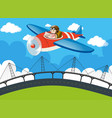 pilot flying plane over the bridge vector image