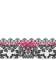pink bow on lace background vector image vector image