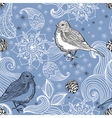 Seamless doodle background with bird and flower vector image vector image