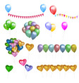 set of color glossy balloonshearts and bunting vector image