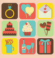 set of valentine icons design vector image vector image
