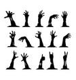 set zombie hands vector image