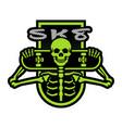 skater skeleton with a board emblem t-shirt vector image vector image