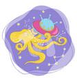 space octopus cartoon galactic animal illus vector image vector image