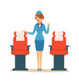 stewardess character in blue uniform serving vector image vector image