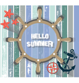 Summer Card with marine wheel vector image vector image