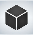 three dimensional or 3d cube hexahedron flat icon